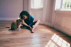 Photo Shoot with model Kayla Ny (and her Cat) in Brooklyn, NYC (L. A. Nolan) Tags: 185mmf28 28mm animals bedstuy brooklyn cat dreadlocks dreads fujifilmx70 inside locs model newyork newyorkcity newyorknewyork ny nyc people photoshoot thebigapple woman