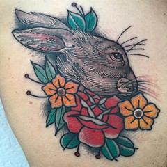Bunny 🐇and rat today 🐀 #chesttattoo at @rosanegratattoo #wynwoodtattoo #miamitattoos #jhonrodriguez