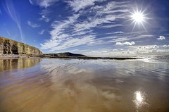 Fishing Blues (pauldunn52) Tags: southerndown beach witches point reflections wet sand glamorgan heritage coast wales