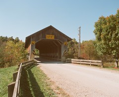 Caine Road Bridge (Sassenach5) Tags: ashtabulacounty coveredbridge bridge pentax 6x7 67 mediumformat 120film 120 idealformat supertakumar 55mm f35 analog agfa agfacolorxps160 expired
