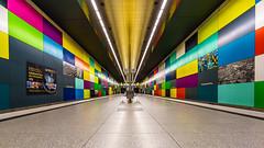 Lines, forms and colours (K.H.Reichert) Tags: symmetrie georgbrauchlering architektur ubahn railway ubahnmuenchen subway station geometrie mnchen bayern deutschland de