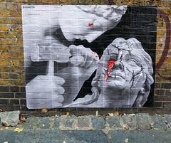Promesto (cocabeenslinky) Tags: streetart graffiti east eastend london city capital england united kingdom uk street art artist artiste graff urban photos photography panasonic lumix dmcg6 cocabeenslinky december 2016 promesto pasteup paste up black white red blood hammer chisel