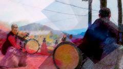 Drummers (Bamboo Barnes - Artist.Com) Tags: japan festival ritual vivd light shadow photo digitalart red blue yellow green oriental asia bamboobarnes landscape bridge drummer drum mountain black grey musicinstrument tradition