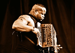 Dwayne Dopsie and the Zydeco Hellraisers at Gumbo Fest (forestforthetress) Tags: music band man singer song instrument gig festival concert stage zydeco dwaynedopsie gumbofest accordion florida outdoor musician monochrome cajun