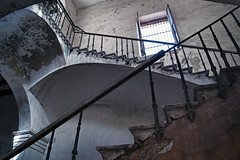 El Hotel Abandonado (Tinker & Rove) Tags: matanzas cuba architecture travel building hotel stairs stairwell rail baluster pillar arch window shutters plaster wood column peeling decay texture aged old railing bannister