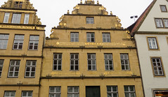 IMG_5427 (jaglazier) Tags: 1593 1593ad 16thcentury 16thcenturyad 2016 91716 architecture bielefeld buildings cityscapes copyright2016jamesaglazier germany houses latin northrhinewestphalia roofs september windows clouds gilded gingerbread gold inscriptions ornaments reconstructed restored stonebuildings streetscapes writing