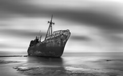 The Shipwreck II (billpeppasphotography) Tags: shipwreck ship boat cruiser cruiseship cruise mast sea ocean water lake pond mediterranean aeegan greece hellas bay shore cove calm serene exposure long grayscale black white clouds cloudy mood moody spooky