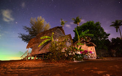 Starry Bungalow (free3yourmind) Tags: starry bungalow hut stars night sky beach summer kohlanta thailand flowers trees palms