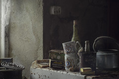 15 past 12 (andre govia.) Tags: andre govia abandoned abondoned decay decayed derelict down decaying demo decayedbuildings photos photo photography still explore englend exploring exploreabandonedbuildings kitchen creepy canon cinematic chair bottles cup lady diana queen prince princess wales british nobility royal charles