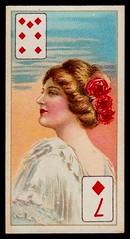Cigarette Card - 7 of Diamonds (cigcardpix) Tags: cigarettecards advertising ephemera vintage beauty playingcard