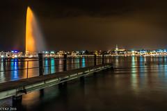 Orange the World (Yee-Kay Fung) Tags: orangetheworld jetdeau geneva cityscape lakeside nightscape switzerland