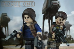Make ten men feel like a hundred. (Brick Builder Watts) Tags: lego rogue one jyn erso cassian andor custom painted minifigures felicity jones diego luna