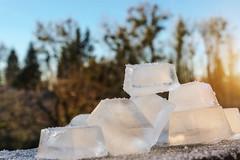 Ice at Sunrise (phagileo) Tags: walimex samyang 35mm natur outdoor outside ice cubes cube icecube eiswürfel trees sun sunrise f14 macro makro hdr