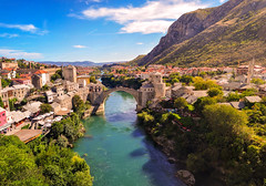 The Ottoman Bridge (mehmetyukselphotography) Tags: mostar balkan nature natural minaret mosque ottoman life lifestyle city landscape river reflection road travel tree trees sky skyline clouds cloud photo photography amazing awesome colorful colors blue green white outdoor outdoors