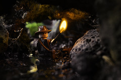 Spelunkerana Jones (Kyle Hardisty) Tags: kyle hardisty lego photography 2016 macro custom lighting depth field canon rebel sl1 minifigure minifig brickarms california outdoor flickr photos photoshop toyphotography minifigures indiana jones tomb raider lara croft cave torch fire