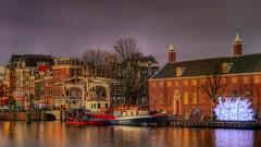 Hermitage Lights (Skylark92) Tags: nederland netherlands holland noordholland amsterdam centre centrum water canal boat boot hermitage light festival walter sskindbrug amstel hdr