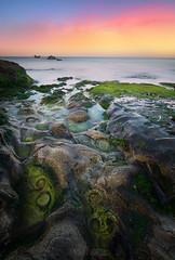 Sunrise on the rocks... (DABMARCO www.marcodabbruzzi.com) Tags: alba rocce mare scogli italy sunrise rock rocks sea green yellow blu