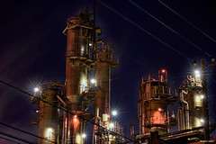 HDR Photo: Factory night view 'Light shiny' (uemii2010) Tags: plant japan night industrial factory hdr kawasaki photomatix hdrphotography technoscape hdrjapan pipescape canoneos7d canonefs55250mm topazadjust hdrphotographers