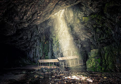 Smoo Cave III (Philipp Klinger Photography) Tags: uk greatbritain bridge light shadow sea cold nature water rock stone landscape scotland nikon rocks warm ray bright unitedkingdom britain stones united great north kingdom gb cave rays northern philipp durness hhle schottland d800 klinger s