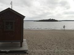 212/365 (hachiko_it) Tags: life wood sea summer sky rescue cloud tree beach suomi finland season island belt sand loneliness lifebelt cloudy flag hut end vaasa vasa day212 day212365 3652013 chiarasirotti 365the2013edition 31jul13