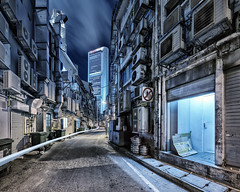 The Backalleys (Scintt) Tags: city travel light sky urban motion architecture clouds buildings hall back movement alley singapore long exposure cityscape slow place bladerunner air gritty structure trail shutter rough exploration ghostintheshell conditioner raffles motorycle units scintillation scintt