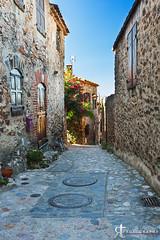 1308115 (noobographer) Tags: street old blue sky plants sun house france history window beautiful stone pretty village medieval historic cobblestone pyrenees castelnou