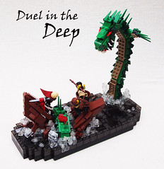 Duel in the deep (Mark of Falworth) Tags: sea water monster fight iron lego battle scene builder moc