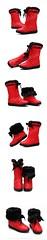 SB-0001-รองเท้าบูทหนังเกรดเอกันน้ำบุขนเฟอร์หนานุ่มอบอุ่นสบายด้านในสามารถพับเป็นบูทสั้นน่ารัก-สีแดง