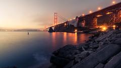 Golden Gate (bobbybradley) Tags: california longexposure morning bridge water fog sunrise golden early gate goldengatebridge government marincounty sanfransisco shutdown vision:sunset=09