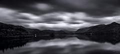 Derwent Water Morning Black (Photograferry) Tags: uk longexposure clouds rural sunrise landscape blackwhite lakedistrict cumbria derwentwater keswick
