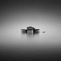 is there anybody out there (vulture labs) Tags: longexposure blackandwhite bw seascape west art abandoned monochrome photography mono pier brighton fine monotone monochromatic minimal isthereanybodyoutthere daytimelongexposure nd110
