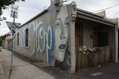 dont stop (Picture this framed Photography) Tags: street portrait house face lady graffiti melbourne victoria stop