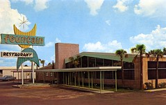 Fountain Restaurant Tallahassee FL (Edge and corner wear) Tags: coffee sign shop architecture modern vintage design pc postcard modernism chrome googie midcentury