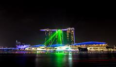 Lasers at Marina Bay Sands (Hafizul I Choudhury) Tags: skyline night singapore cityscape citylights lasers marinabaysands