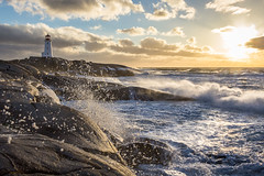 Sea Spray (bluegreenorange) Tags: sunset lighthouse canada water clouds waves novascotia cloudy ns peggyscove lighthousetrail peggyscovelighthouse peggyspointlighthouse