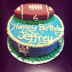 Football cake by Laura, Triad, NC, www.birthdaycakes4free.com