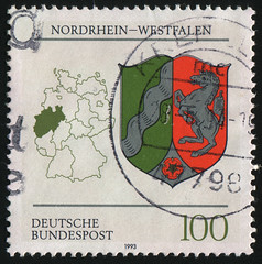 Germany 0609 m (roook76) Tags: old horse sign vintage germany emblem deutschland ancient europe heraldry republic message arm mail symbol map country border stat retro stamp 1993 card cartography envelope letter aged geography coats armory unicorn federal postmark philately northrhinewestphalia monoceros blazonry