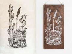 Desert Cactus — Drawing (glamson) Tags: white art pine cacti garden print desert walnut silkscreen succulents