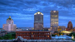 Twilight Downtown Milwaukee (johndecember) Tags: summer usa home skyline wisconsin night office twilight downtown gallery apartment cloudy album july condo milwaukee hdr usbank roofview upontheroof mke nml 16x9 2014 northwesternmutual easttown gasbuilding cudahytower usbankcenter