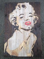 New - Marilyn Monroe brulure peinture sur bois 2014