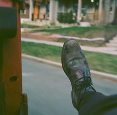 (Zavras) Tags: road motion blur 120 mamiya film floral car weather square shoe iso100 spring shoes driving doors pattern break kodak no toyota land medium format analogue cruiser decent halfway ektar fj40 c330 zavras