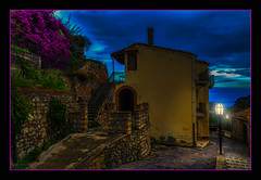 The Twilight (Kevin, from Manchester) Tags: architecture building canon1855mm clouds godfather hdr historical italy kevinwalker messina photoborder sicily sky savoca street lamp