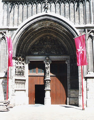 Belgium.  June 20th. 1999 (Cynthia of Harborough) Tags: 1999 architecture arches art cathedrals entrances flags