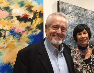 Sculptor John Henry with artist Erika King at her opening at Books&Books Coral Gables