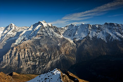 Alpine twilight time, The Jungfrau mountain and the Rottal .The  panorama was taken from the Schithorn mountain. No. 9948.  Thank You my dear mother. (Izakigur) Tags: swiss suiza suisia suizo sussa musictomyeyes ch climbeverymountain thelittleprince thejungfrauregion schilthorn jungfrau rottal dieschweiz d700 switzerlnad svizzera berneroberland bern berne berna nikond700 nikkor2470f28 glacier murren topf25 topf350 100faves 200faves 250faves 3oofaves