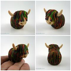 Wee Highland McCoo (QuernusCrafts) Tags: polymerclay quernuscrafts cute cow highlandcow multicoloured stevenbrown artist mccoo