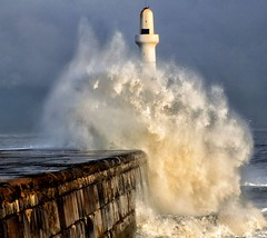 The Big Wave (PeskyMesky) Tags: aberdeen aberdeenharbour southbreakwater wave storm flickr lighthouse scotland blue canon canoneos500d