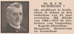 Overlijdensbericht dominee Rembertus Karel Marinus Hummelen (65 jaar) (Barry van Baalen) Tags: overlijdensbericht death dominee dood gorinchem person personen hoogkerk langeslag heereveen kapellebiezelinge 1941