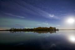 Secret Pond aurora and moon (John Andersen (JPAndersen images)) Tags: aurora fence irricana meteor moon night pond