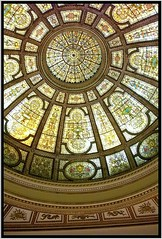 Chicago Old Public  Library ~ Chicago II ~ Skylight Stain Glass~ 1893 (Onasill ~ Bill Badzo - 56 Million Views - Thank Yo) Tags: chicago old public library arche architecture il gar architect shepley rutan coolidge onasill attraction tourist mosaics tiffany cultural center nrhp centre landmark us ceiling dome glass stain rotunda building photo border indoor circle round geometric